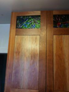Kitchen Cabinet door in Cherry with fused glass