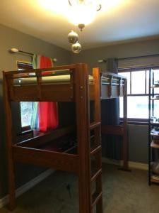 "Solid ash ""loft bed"" bed on top, desk below"